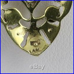 10ct Old Mine Cut Diamond & Pearl Art Deco Pendant Necklace 14k Gold Lavaliere