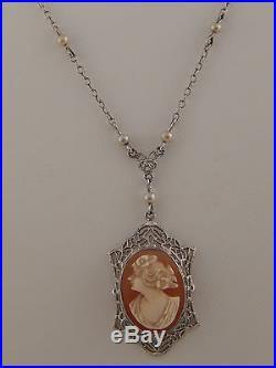 10k White Gold Art Deco Filigree Cameo Necklace Antique 16 Chain Estate
