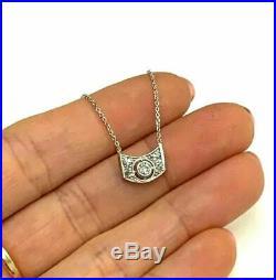 14K White Gold Art Deco Antique Mine Cut Diamond Necklace 18