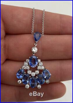 18ct Gold Italian Sapphire & Diamond Art Deco Design Pendant Necklace Boxed 18K