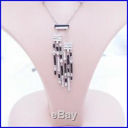 18ct gold 1ct diamond onyx necklace on diamond chain, art deco design