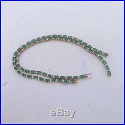 18ct gold large 16.5ct emerald diamond necklace, art deco design heavy 27.4 gram