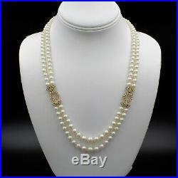 18k Gold Art Deco Japanese Aykoya Pearl Necklace With 1.00 Ctw Diamonds #e-115