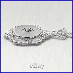 1920's Antique Art Deco 18k White Gold Filigree Camphor Glass 18 Necklace