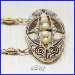 1920's Antique Art Deco Platinum & 14k Yellow Gold Filigree Pearl 22 Necklace