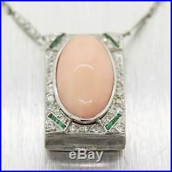 1920's Antique Art Deco Platinum Diamond Emerald Angel Skin Coral 15 Necklace