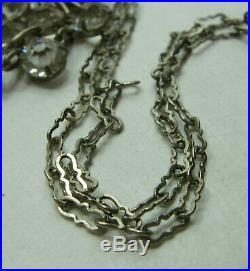1920s Sterling Silver Art Deco Necklace Lavaliere Bezel Crystal 2.5 Inch Pendant
