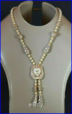 1930 Max Neiger Art Deco Czech Milk Glass Necklace Pharaoh Face Egyptian Revival