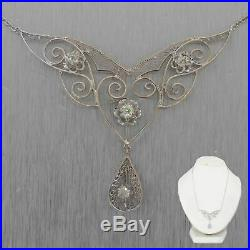 1930's Antique Art Deco 14k White Gold 0.40ctw Diamond Filigree 15 Necklace