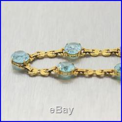1930's Antique Art Deco 14k Yellow Gold 14ctw Blue Zircon 16 Necklace