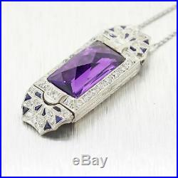 1930's Antique Art Deco Platinum Diamond & Amethyst 16 Necklace