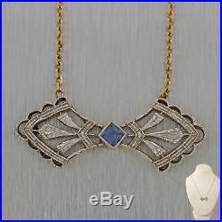 1930's Antique Art Deco Platinum Sapphire Pendant Chain Necklace