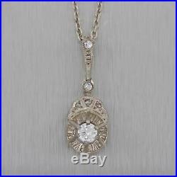 1930s Antique Art Deco 18k Gold. 25ct Solitaire Diamond Drop Pendant Necklace