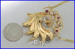 1930s Antique Art Deco 18k Yellow Gold 1.30ctw Ruby Diamond Pendant Necklace Y8