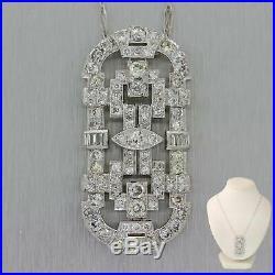 1930s Antique Art Deco Platinum 5.00ctw Diamond Pendant Chain Necklace