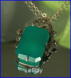 1930s Art Deco CHRYSOPRASE Necklace STERLING Marcasites & Millegrain Frame FAB