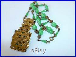1930s MAX NEIGER Art Deco Green Art Glass, Enamel & Brass Filigree Necklace
