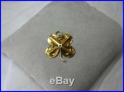 4 Leaf Clover Enamel Pendant Flower Necklace 14K Gold Victorian Art Deco c1900