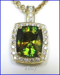42 CTS NATURAL SPHENE/TITANITE DIAMOND PENDANT NECKLACE FINE JEWELRY 36 Gr GOLD