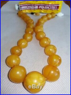 76g Vintage Old Marbled Butterscotch Amber Faturan Bakelite Bead Necklace