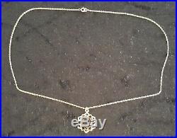9 carat solid gold & smokey quartz vintage Art Deco antique pendant necklace
