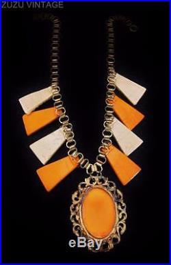 AMAZING Art Deco EGYPTIAN REVIVAL Step Glass Cameo Necklace (a34)