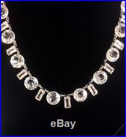 6dcf95c50fe3a An Antique Vintage Art Deco Open Back Clear Rock Crystal Necklace ...