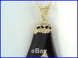 ANTIQUE Art Deco SOLID 14K GOLD FLEUR DI LIS SEED PEARL BLACK ONYX NECKLACE