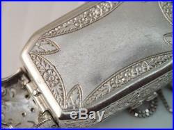 ANTIQUE Art Deco SOLID PLATINUM & DIAMOND ENCRUSTED PENDANT NECKLACE WATCH CASE