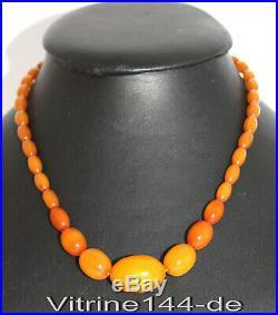 ART DECO BAKELIT Halskette Bernsteinfarben Honig OLIVEN 30er Bakelite necklace