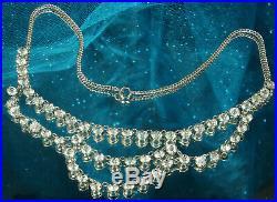 ART DECO FESTOON Necklace 1930s 12k White Gold Fill OPEN BACK CZECH CRYSTALS Fab