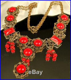 ART DECO Necklace 1930s FRINGE 19 Faceted RED CZECH GLASS Gold Plate Hearts FAB