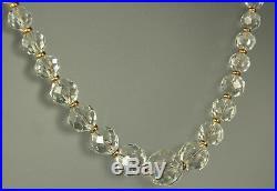 ART DECO Necklace 1930s ROCK CRYSTAL QUARTZ Gemstone 14K GF Period Chain 16.5