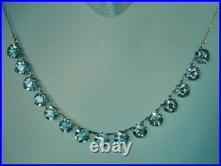ART DECO Necklace 1930s STERLING 15 Open Aqua Blue CRYSTALS 16.75 Choker FAB