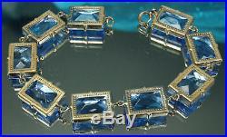 ART DECO Set 1930s ENAMEL CHAIN Necklace Bracelet Open Back BLUE CZECH CRYSTALS