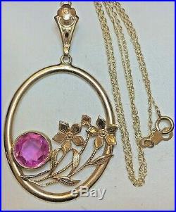 Antique 10k Gold Pink Sapphire Pendant Necklace Chain 18' Gemstone Art Deco