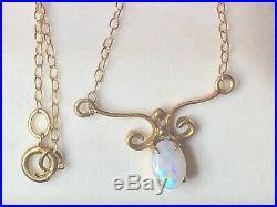 Antique 14k Gold Natural Opal Necklace Pendant Lavaliere Art Deco Gemstone