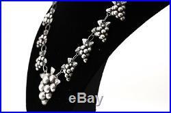 Antique 1930s ART DECO Art Nouveau GRAPE LEAF Sterling Silver 17 Necklace 51g