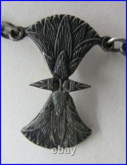 Antique ART DECO Egyptian 900 Silver Pharaoh Hieroglyphic Scarab Beetle Necklace