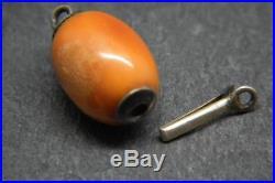 Antique/Art Deco 100% Butterscotch Baltic Amber Bead Silver Necklace Clasp