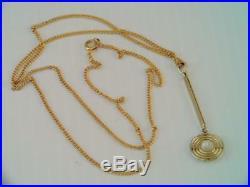 Antique Art Deco 10k & 14k Solid Gold Pearl Lavalier Pendant Necklace Gorgeous