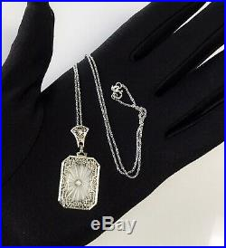 Antique Art Deco 14k Gold Camphor Glass Diamond Filigree Pendant Necklace