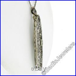 Antique Art Deco 14k White Gold 0.12ct Diamond Filigree Brooch Pendant Necklace