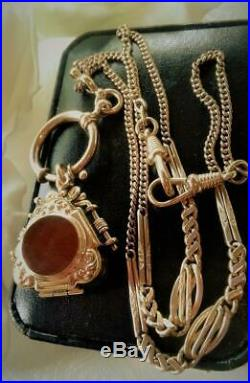 Antique Art Deco 1920's Gold Gf Carnelian Photo Locket Watch Chain Necklace
