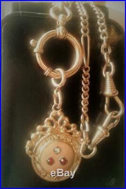 Antique Art Deco 1920's Gold Gf Garnet Paste Fob Ornate Watch Chain Necklace