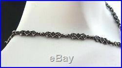 Antique Art Deco. 925 Sterling Silver Marcasite Pendant Necklace
