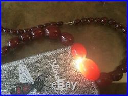 Antique Art Deco Bakelite Cherry Amber Bead Necklace 60 Grams