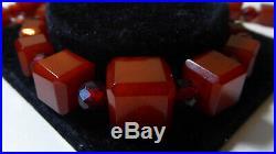Antique Art Deco Cherry Amber Bakelite Cube Necklace