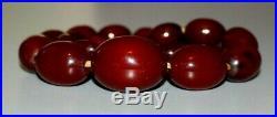 Antique Art Deco Cherry Amber Bakelite Necklace. Marbled Beads