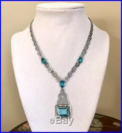 Antique Art Deco Choker Necklace Blue Stones Seed Pearls Filigree Czech Lavalier